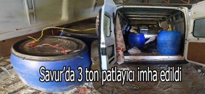 Savur'da 3 ton patlayıcı imha edildi